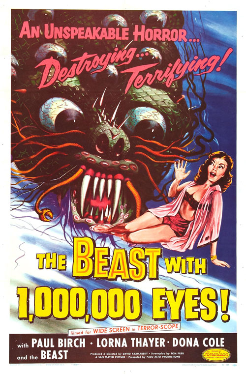 Affiche américaine de 'The Beast with a Million Eyes'