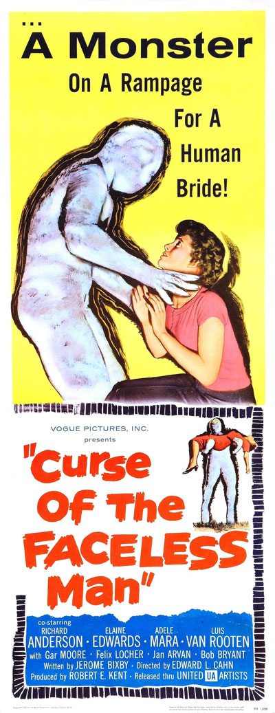 Affiche américaine de 'Curse of the Faceless Man'