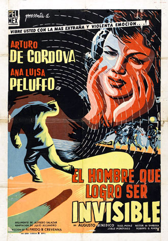 Mexican poster from the movie The Invisible Man (El hombre que logró ser invisible)
