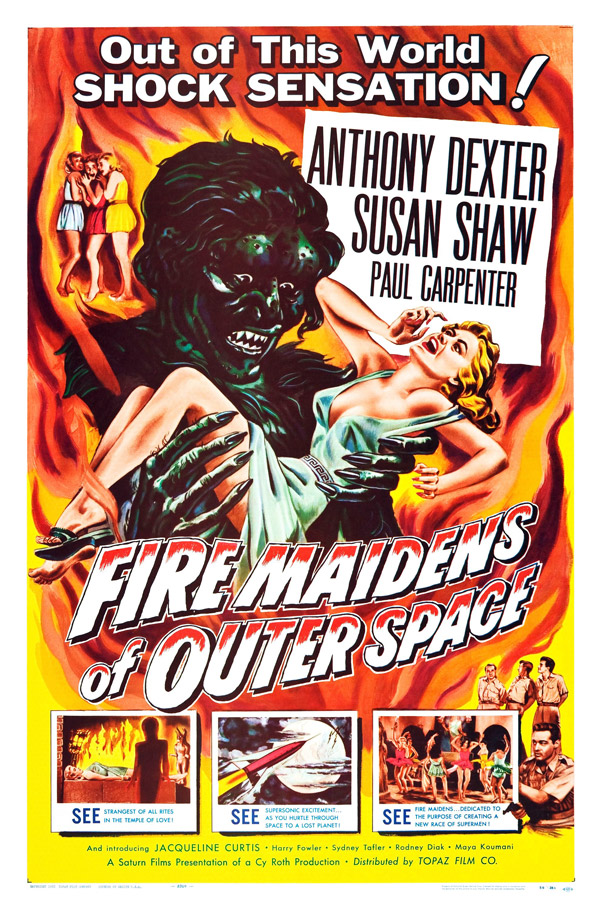 Affiche américaine de 'Fire Maidens From Outer Space'