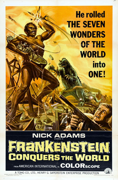 Us poster from the movie Frankenstein Conquers the World (Furankenshutain tai chitei kaijû Baragon)