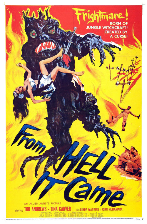 Affiche américaine de 'From Hell It Came'
