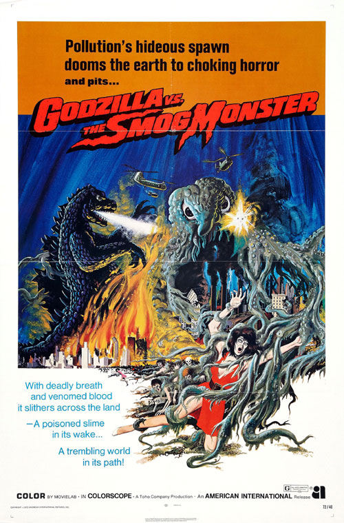 Us poster from the movie Godzilla vs. the Smog Monster (Gojira tai Hedorâ)