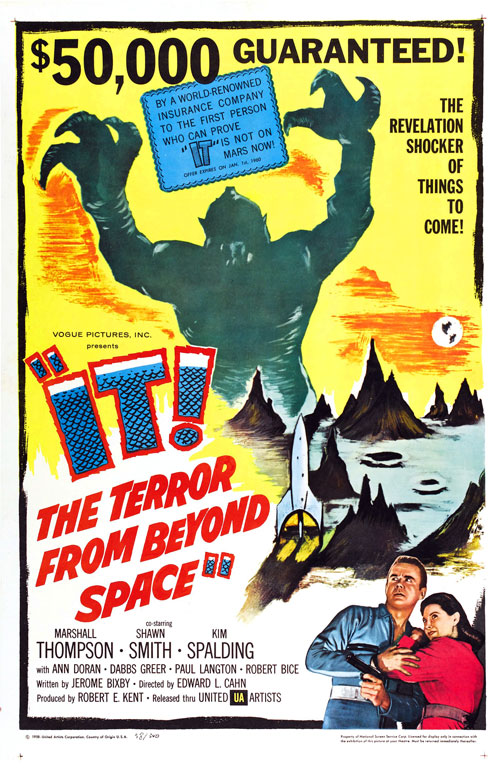 Us poster from the movie It! The Terror from Beyond Space