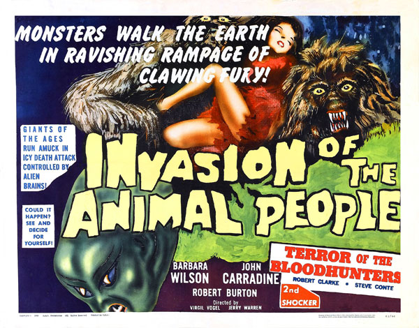Us poster from the movie Invasion of the Animal People (Rymdinvasion i Lappland)