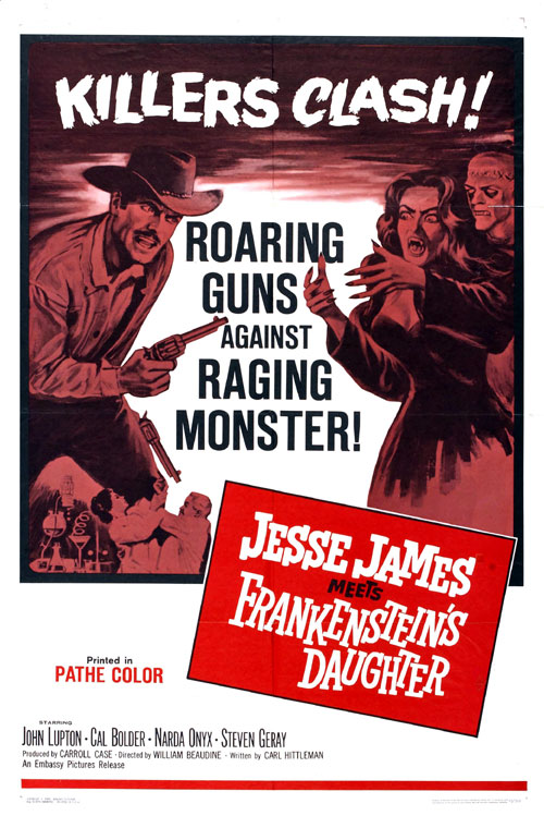 Us poster from the movie Jesse James Meets Frankenstein's Daughter