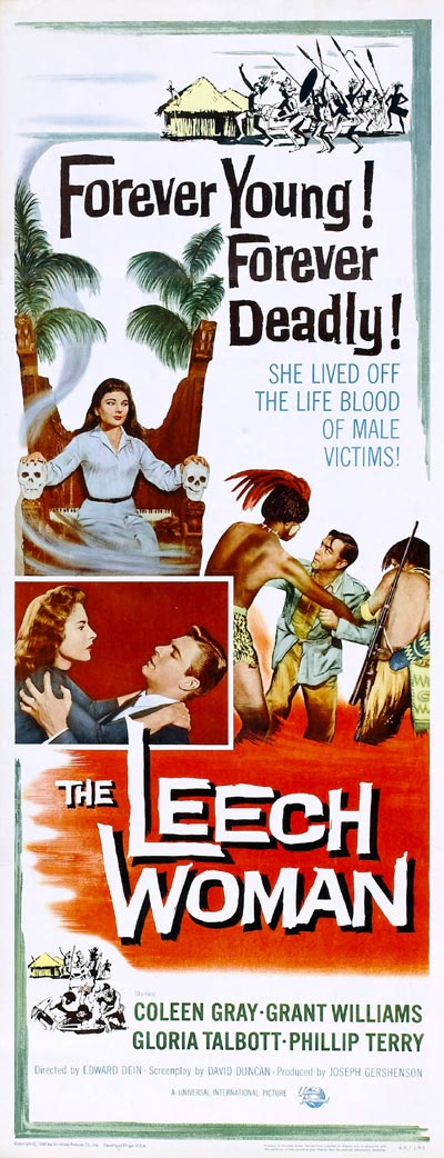 Affiche américaine de 'The Leech Woman'