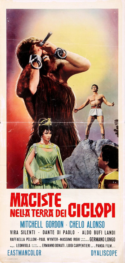 Italian poster from the movie Atlas Against the Cyclops (Maciste nella terra dei ciclopi)