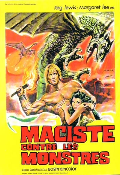 French poster from the movie Colossus of the Stone Age (Maciste contro i mostri)