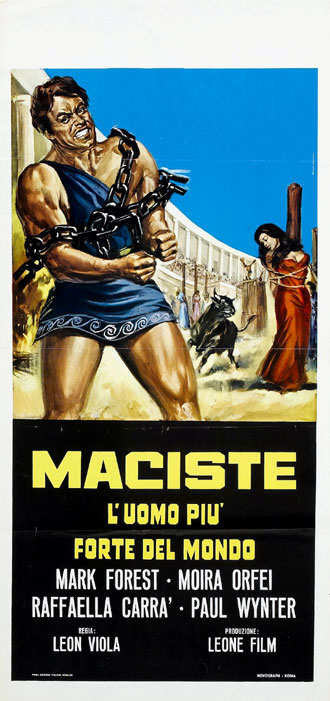 Italian poster from the movie Mole Men Against the Son of Hercules (Maciste, l'uomo più forte del mondo)
