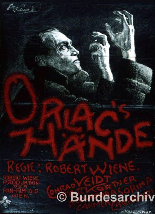 German poster from the movie The Hands of Orlac (Orlacs Hände)