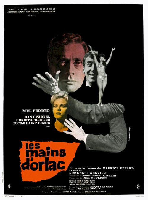 French poster from the movie The Hands of Orlac