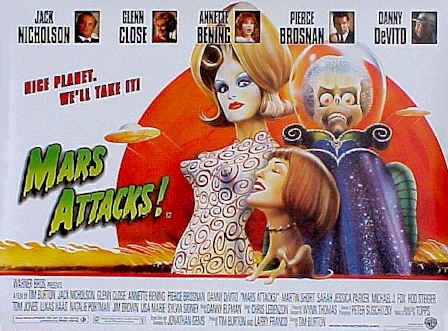 Affiche britannique de 'Mars Attacks!'