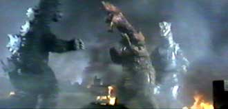 Godzilla fights against Titanosaurus and Mechagodzilla - The Terror of Godzilla (Mekagojira no gyakushu)