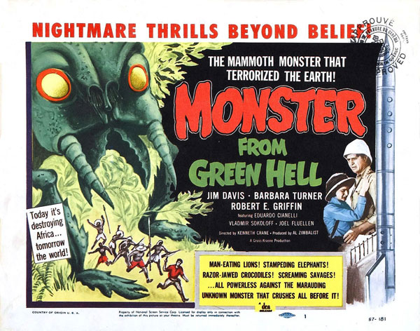 Affiche américaine de 'Monster from Green Hell'