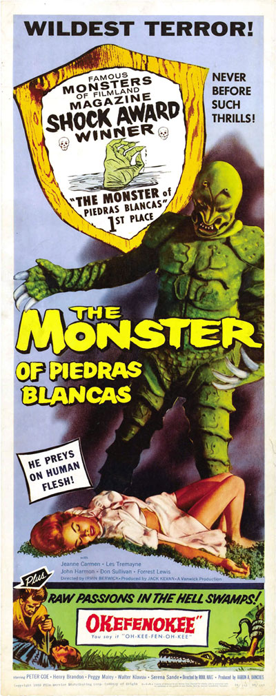 Affiche américaine de 'The Monster of Piedras Blancas'