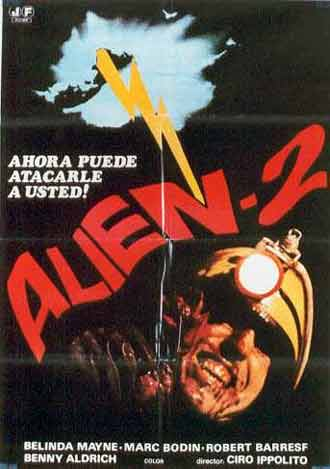 Italian poster from the movie Strangers (Alien 2 - Sulla terra)