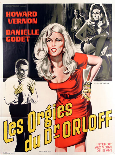 French poster from the movie The Orgies of Dr. Orloff (El enigma del ataúd)