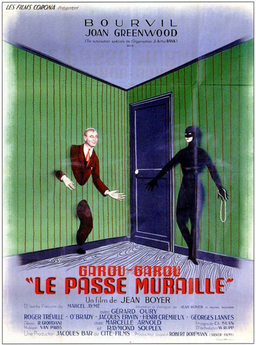 French poster from the movie Mr. Peek-A-Boo (Le passe-muraille)