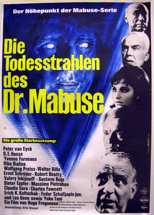 German poster from the movie Dr. Mabuse's Rays of death (Die Todesstrahlen des Dr. Mabuse)