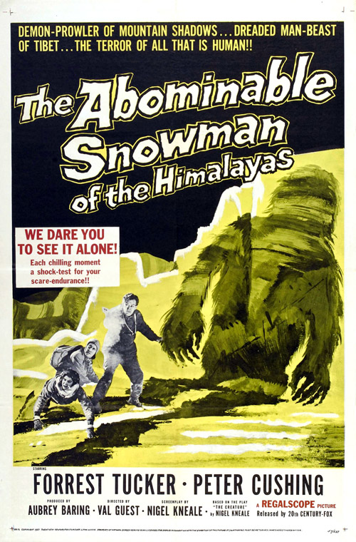 Us poster from the movie The Abominable Snowman