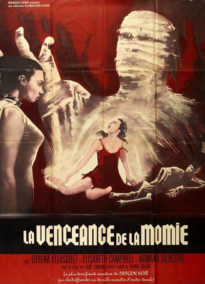 French poster from the movie Wrestling Women vs. the Aztec Mummy (Las luchadoras contra la momia)