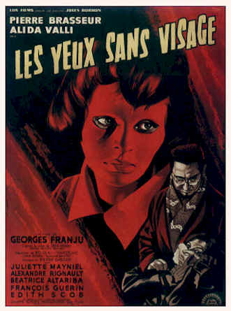 French poster from the movie Eyes Without a Face (Les yeux sans visage)