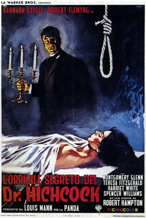 Italian poster from the movie The Horrible Dr. Hichcock (L'orribile segreto del Dr. Hichcock)