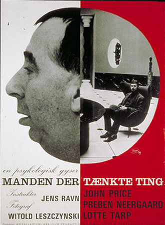 Danish poster from the movie The Man Who Thought Life (Manden der tænkte ting)
