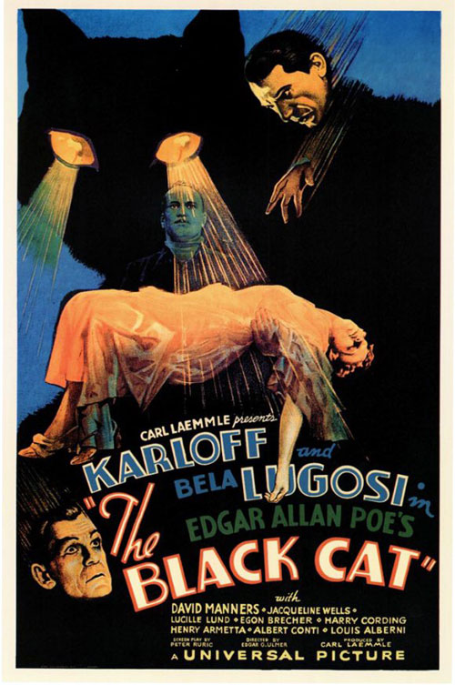 Affiche américaine du film Le chat noir (The Black Cat)