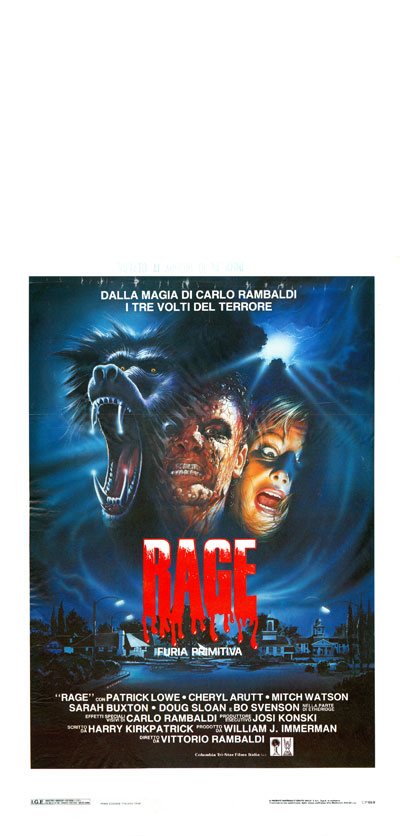 Italian poster from the movie Primal Rage (Rage, furia primitiva)