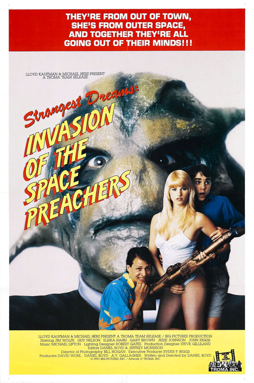 Affiche américaine de 'Invasion of the Space Preachers'