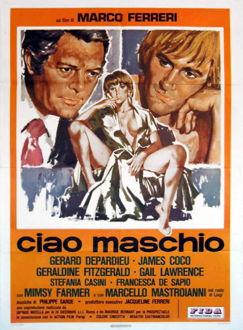 Italian poster from the movie Bye Bye Monkey (Ciao maschio)