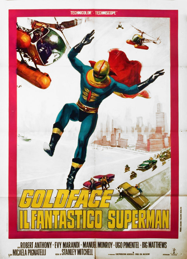 Italian poster from the movie Goldface, the Fantastic Superman (Goldface il fantastico Superman)