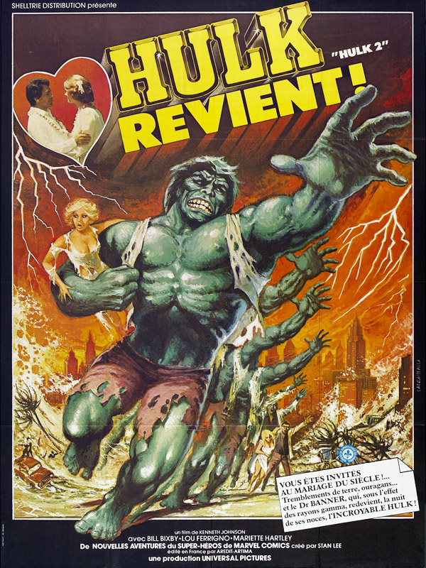 French poster from the TV movie The Incredible Hulk: Married