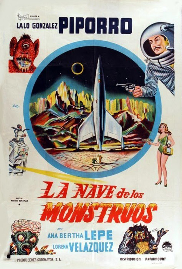 Mexican poster from the movie The Ship of Monsters (La nave de los monstruos)